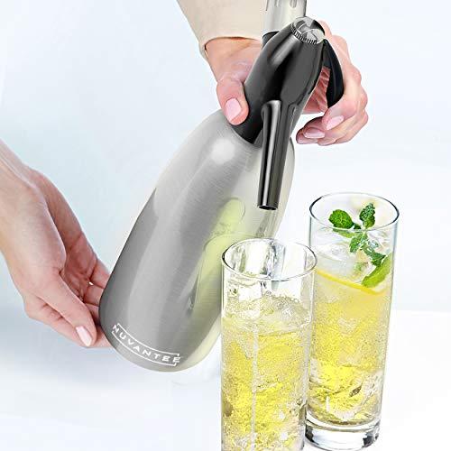 Innovee Soda-Siphon – Der beste Sodasprudler – Aluminium – 1 Liter + Cocktail Rezepte Ebook – Bereiten Sie Sprudelwasser mit Leitungswasser oder aus der Flasche vor – Bereiten Sprudelwasser vor wann Sie es vollen – benötigt Standard-CO2 Kapseln (nicht enthalten) - 2