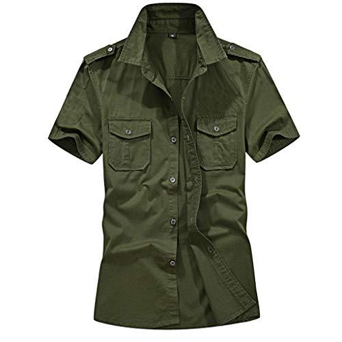 MRULIC Herren Sommer Cool Military Stil Baumwolle Kurzarm Cargo Slim Button Men\'s Shirt Top Bluse Leisure Party Travel Dance Party Comfortable Model Oxford Shirt(C-Armeegrün,EU-M/CN-L)