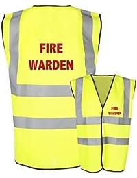 FIRE WARDEN Health and Safety Hi Viz Vis Vests Safety Vests Waistecoat (Extra Large, Yellow)