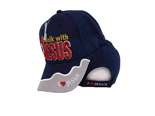 Walk With Jesus I Love Jesus Blue Grey Christian Embroidered Cap Hat 494d466f1e55