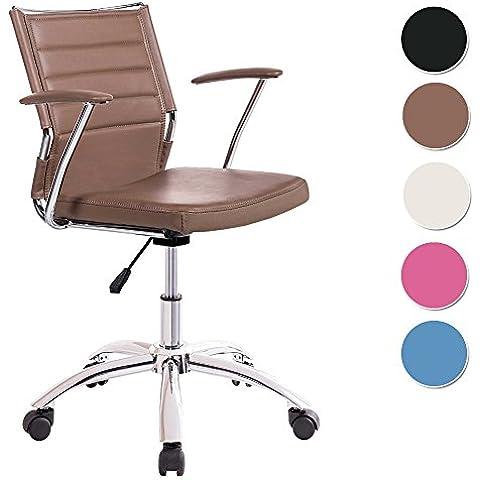 Silla de escritorio para despacho modelo LIFE base ruedas color visón - Sedutahome