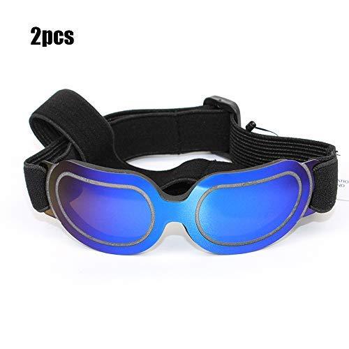 Pteng Gläsern Fahrradbrille Dog Goggles - Kleines Haustier Hund Sonnenbrillen Schutzbrillen UV-Schutz vor Augenleiden Winddichter Verstellbarer Gurt, mittlerer Hund, 2St Linse Outdooraktivitäten -