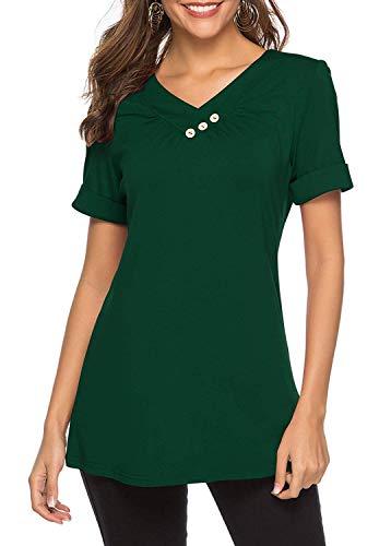 KISSMODA Damen Kurzarm Sweatshirt mit Wasserfallausschnitt Lässige Kleidung Oberteile Grün Klein