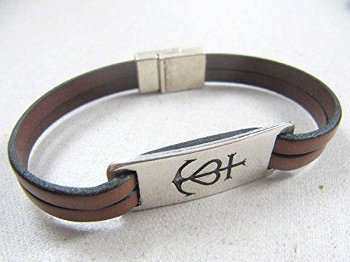 Bracelet cuir croix de camargue finition argent 925