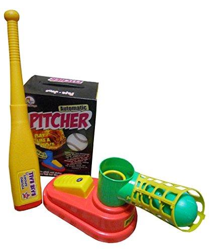 Toyshine Automatic Pitcher Game, Unbreakable, Includes 1 Bat, 3 Balls, Pitcher