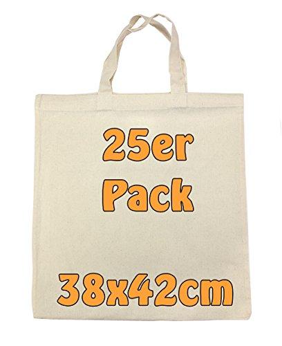 Baumwolltasche Jutebeutel unbedruckt mit zwei kurzen Henkeln natur 38x42cm 25 Stück
