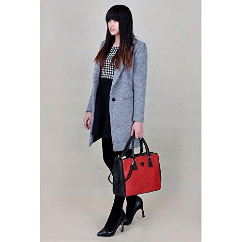 Frauen Handtaschen Damen-Schultertasche Artleder 3 Fach Trage neue Promi-Stil groß (A - Schwarz/Nude) B - Schwarz/Rot