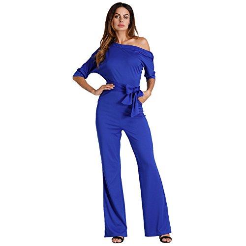 Damen Elegante Jumpsuit Lang Weites Bein Overalls Hoher Taille Spielanzug mit Gurt Halbe Hülse Weg von Den Schulter, Blau S
