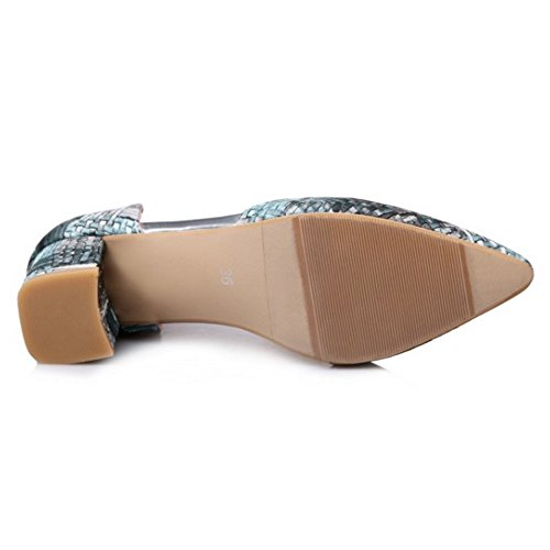 COOLCEPT Femmes Mode Pointue Cheville Chunky Talon Sandales Fille Ecole Chaussures Gris