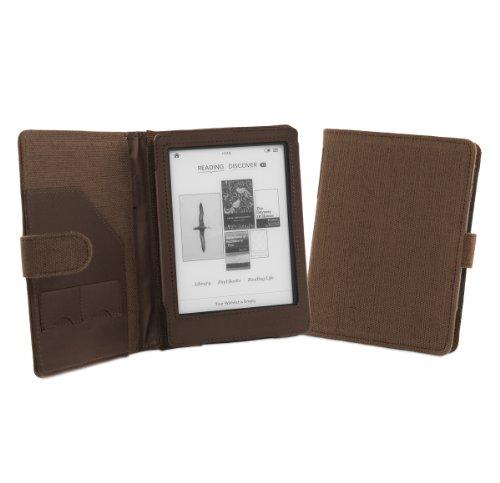 Cover-Up Cover protettiva per Kobo Glo (Book style, Funzione sleep, in fibre di canapa naturale) Marrone cacao