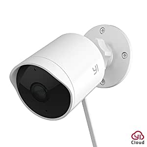 YI Outdoor Security Camera 1080p Cloud Cam Wireless IP Waterproof Night Vision Security Surveillance System White