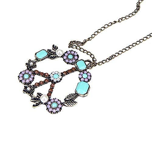 Antik Korn (fgghfgrtgtg Frauen-Weinlese-Korn-Embedded-Blumen-Muster-Halskette Antike Mädchen Strass Hals Anhänger Schmuck)