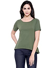 COA Womens Organic Cotton Plane SMIZE Solid Olive Green A-line Top for Women with Round Neck and Short Box Sleeves