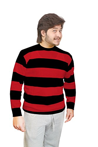 Islander Fashions Herren Strickpullover Freddy Krüger rot & grün gestreift Halloween Kostüm (S-2X) Gr. XXL, Red & Black - Freddy Krueger Kostüm Männer