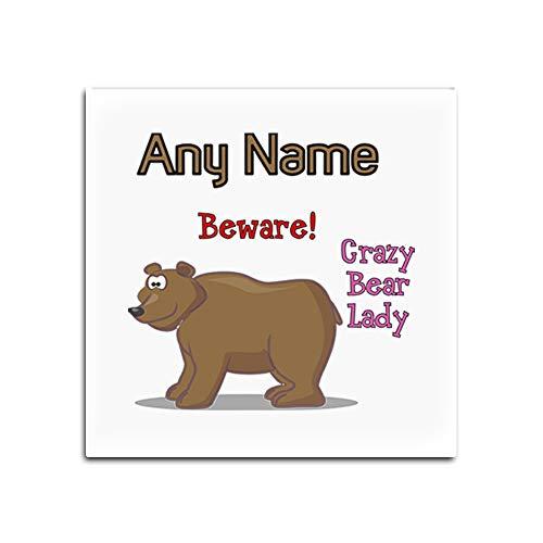 UNIGIFT - Set von 4 x Crazy Bear Lady Glasuntersetzer (Animal Slogan Design, weiß) mit Namensbotschaft, einzigartig, Tiermotiv, lustig, Tierliebhaber, Teddybär Grizzly, Glas, weiß, Quadrat -