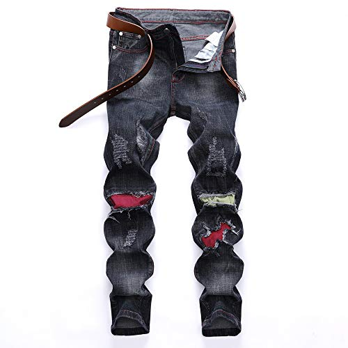 UFODB Jeans Pants for Men, Herren Destroyed Jeans-Hose Straight Leg Chino Pant Lang Trousers Freizeithose Tapered Fit Kleidung Casual Jogger Hose Top ()