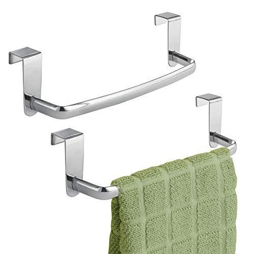 mDesign Set da 2 Porta asciugamani cucina - Porta strofinacci da appendere alle ante dei mobili - Appendi strofinacci senza forare...