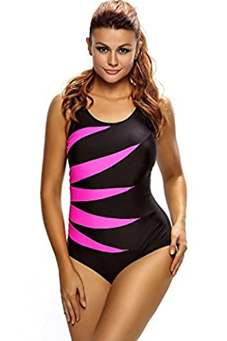 Fortuning's JDS Scoop Neck Printed Color Block Lace-up Monokini One