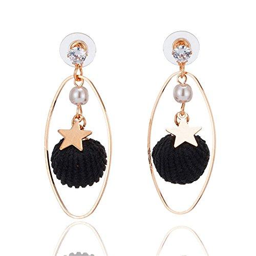 Garn Fringe Diamond Ohrringe Sterne äußeren Ring lange Strass Ohrringe böhmischen geometrische Ohrringe, schwarz (Garn Tiere)