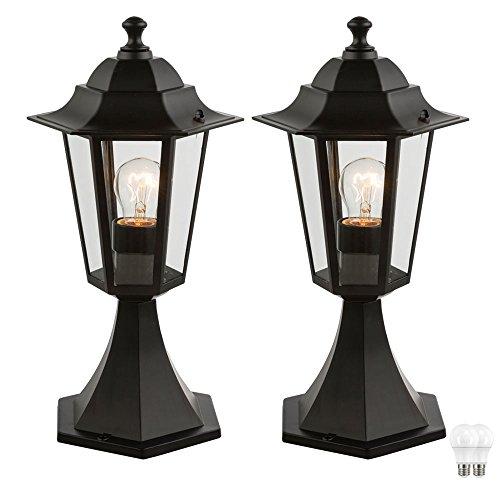 2er Set LED Außen Lampen Garten Weg Beleuchtung ALU Sockel Leuchten schwarz Veranda Steh Laternen