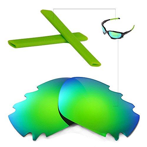 Walleva Belüftete Linsen und Gummi-Kit (Earsocks + Nosepads) Für Oakley Jawbone (Emerald Polarisierte Linsen + Grün Gummi)