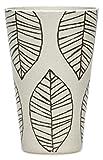 SIKORA CUP2 4er Set Trink- und Saftbecher 400ml aus nachhaltiger Bambusfaser 100% BPA frei, Modell/Farbe:Blätter Natur/schwarz 4er Set