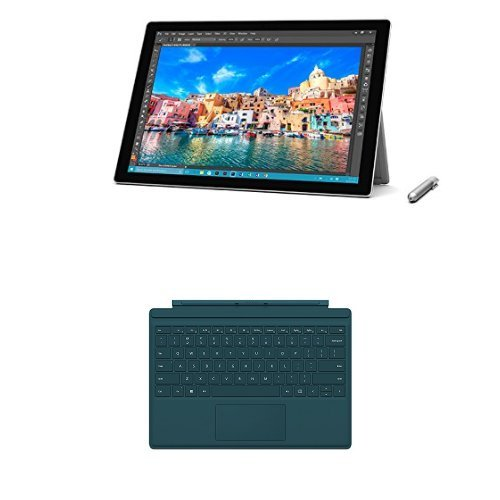 Price comparison product image Microsoft Surface Pro 4 12.3 inch Tablet with Pen (Intel Core i5-6300U 2.2 GHz, 4 GB RAM, 128 GB SSD, Integrated Graphics, Windows 10 Pro) and Microsoft Surface Pro 4 Type Keyboard - Silver/Teal