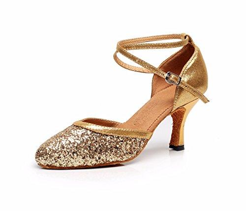 Dquietness Pétillante Pétillante Latine Chaussures De Danse Féminine / Paillette / Talon Cubain Synthétique Noir / Argent / Or / Multicolore Or
