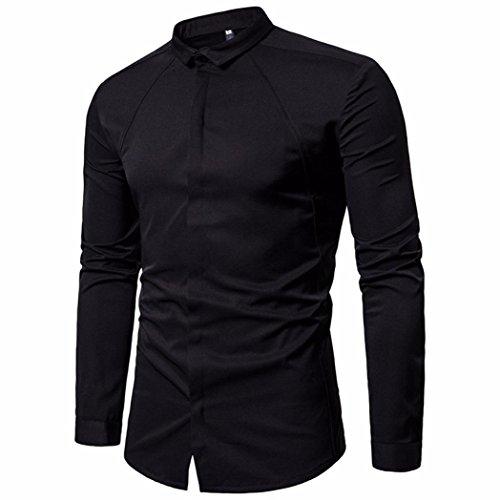 VEMOW Sommer Herbst Frühling Herrenhemden Slim Fit Solide Langarm Casual Täglichen Party Business Button Shirts Formale Top Bluse(Schwarz, EU-48/CN-M)