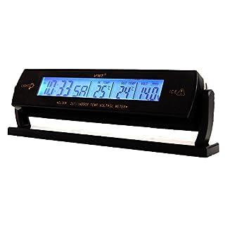 PolarLander Auto-Taktgeber-Kalender Indoor Outdoor Thermometer Voltage Meter blauer Hintergrundbeleuchtung