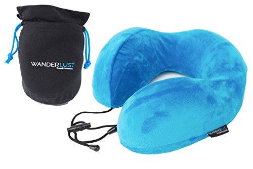 Premium U Shaped Memory Foam Neck Pillow for Travel with Carry Bag | Adjustable Fit by Wanderlust Travel Essentials™