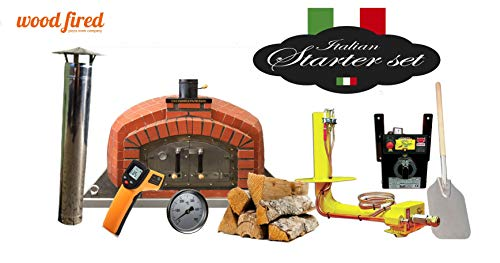 Franco Brick Wood Fired Pizza Oven Double Insulation Starter Kit, Stainless Steel Door, With gas burner, 130cm x130cm