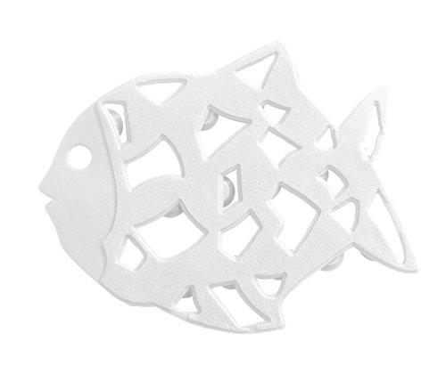WENKO 3911015100 Anti-Rutsch-Sticker Fisch - 6er Set, Kunststoff, Weiß