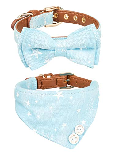 Gyapet Katzen Schleife Halsbänder Halstuch für extra kleine Hunde Welpen 2Packungen verstellbar Schal Cute, 2 pcs, Stars-Blue