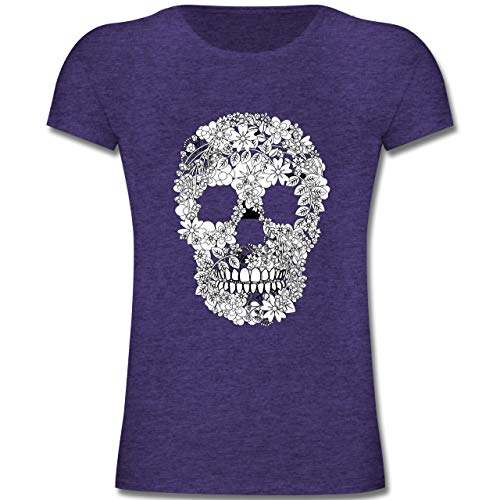 Bunt gemischt Kinder - Totenkopf Blumen Skull Flowers - 140 (9-11 Jahre) - Lila Meliert - F131K - Mädchen Kinder T-Shirt - Geschenke Kids Dark T-shirt