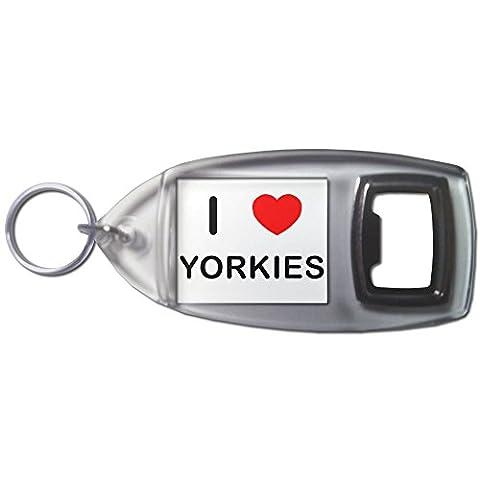 I Love Heart Yorkies - Bouteilles en plastique Ouvre Porte-clés