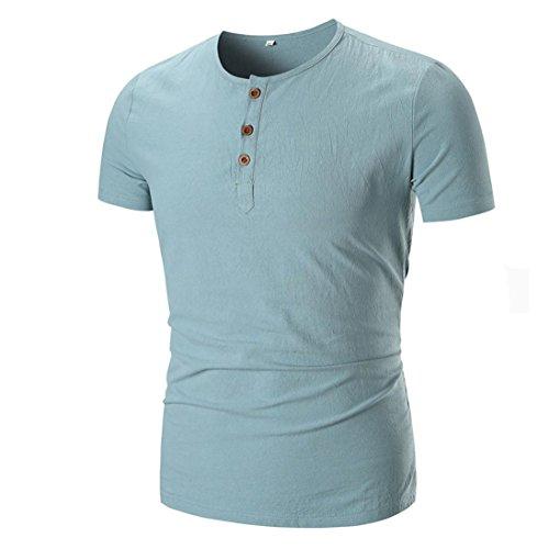 Leinen T-Shirt Solides Rundhals-Shirt mit Rundhalsausschnitt Herren-Shirt GreatestPAK,Grün,XXL