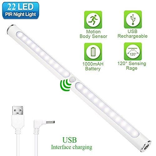 Schrank Licht GLIME Schrank LED Sensor Licht Automatisches Bewegungssensor Nachtlicht Touch-Schalter 22 LED Augenschutz Magnet Kleiderschrank Schrankleuchte USB Sehvermögen schützen (Schrank-licht-schalter)