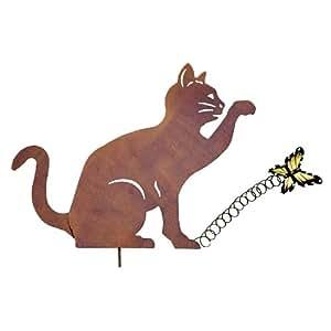 WENKO Gartenstecker Katze mit Schmetterling