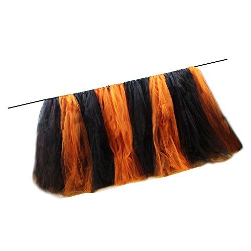 (Baoblaze Orange und Schwarz Tüllrock Tutu Rock Tüll Dekoration für Tisch und Stuhl)