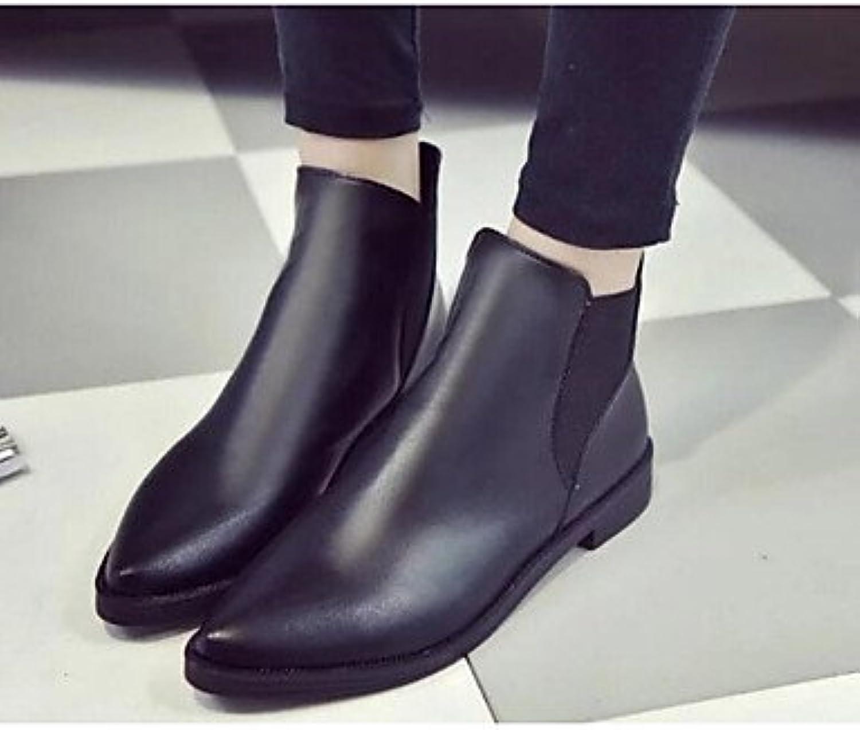 bottes pour dames le confort confort confort des bottes mode automne hiver du cuir de pu b0774yr5nx plats occasionnels parents noirs gris 05ceb5