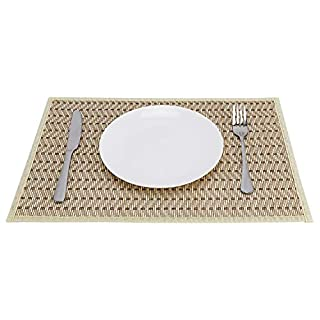 Apt Go Bamboo Strip Placemats Kitchen Table Mats Decoration with Beige Fabric Border - 18