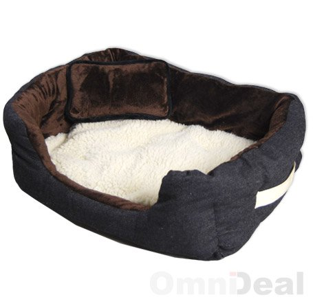 Hundebett Tierbett Braun Weiß Lammfellimitat ca. 52x40x16cm mit Innenkissen + Schmusekissen + Pipi-Schutz-Unterlage - 5