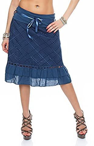 MODA ITALY DAMEN BAUMWOLLROCK SOMMERROCK MINIROCK KNIELANG MIT SCHLEIFENGÜRTEL BAUMWOLLE VISKOSE KURZER ROCK (blau)