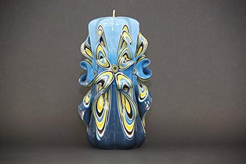 Groß, Blau und Gelb - helle Farben - dekorativ geschnitzte Kerze - EveCandles