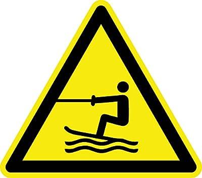 Warnzeichen - Warnung vor Wasserski-Bereich - Aluminium Selbstklebend