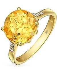 bb4d1922621d 3CT Solitaire circón citrino amarillo Topacio anillo plata Chapado en oro  de 14K