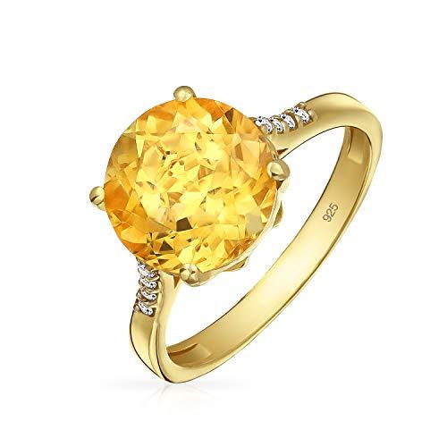 3Ct Brillanten Solitär Edelstein Zirkon Gelben Citrin Topas Ring Für Damen 14 K Silber Vergoldet November Geburtsstein (14k Gold Vergoldet Ohrringe)