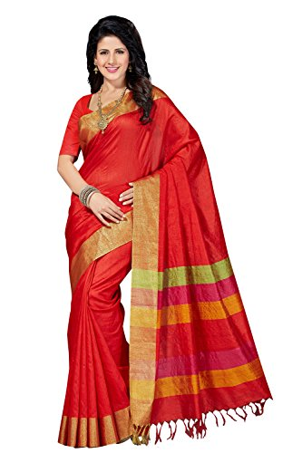 Rani Saahiba Women's Art Dupion Silk Zari Border Saree ( Prg27_Red )