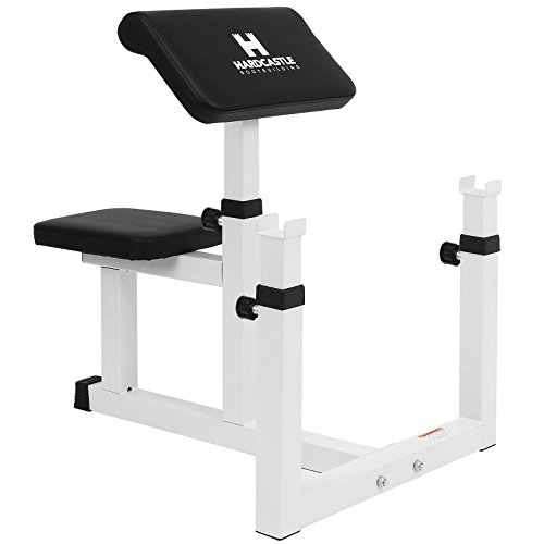 Hardcastle White Adjustable Preacher Curl Bench - Improve Bicep Workouts